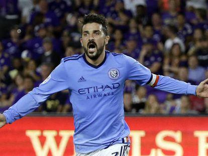 David Villa celebra un gol con el New York City al Orlando City el pasado 21 de mayo.