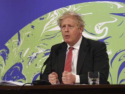 Boris Johnson interviene desde Downing Street en una cumbre virtual internacional sobre el cambio climático, el pasado 22 de abril