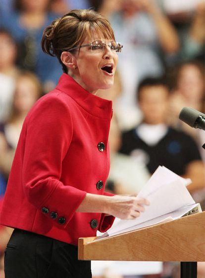 La republicana Sarah Palin durante un mitin.