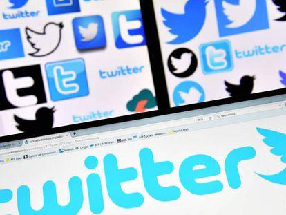 Varias pantallas muestran símbolos de Twitter y Facebook.