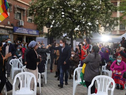 Pablo Iglesias, a su llega al acto de este viernes en Villaverde (Madrid).