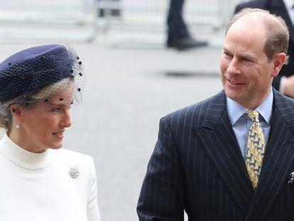 Eduardo y Sophie, condes de Wessex, en la abadía de Westminster de Londres el 9 de marzo de 2020.