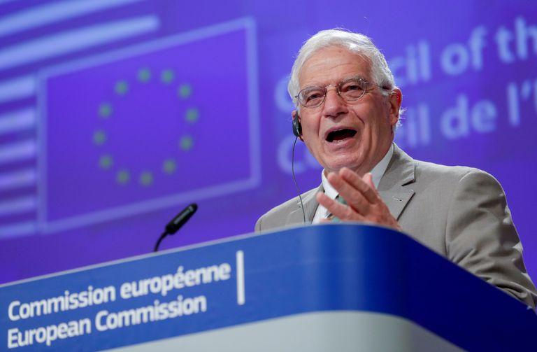 El jefe de la diplomacia comunitaria, Josep Borrell, durante una rueda de prensa en Bruselas, el mes pasado.
