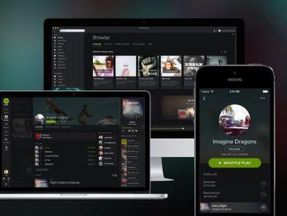 Un ordenador, una tableta y un móvil, conectados a Spotify.