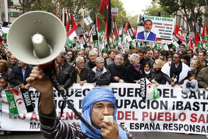 Cabecera de la manifestación prosaharaui que recorrió Madrid el pasado sábado.
