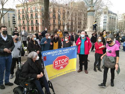 Una protesta de la Plataforma de Afectados por la Hipoteca (PAH) en Barcelona, a finales de febrero.