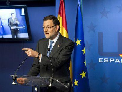 El presidente del Gobierno, Mariano Rajoy, en la rueda de prensa de Bruselas