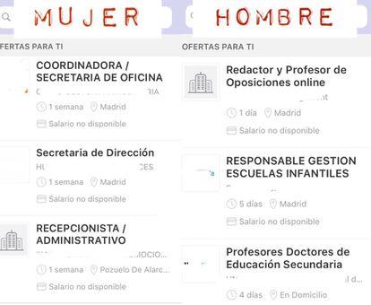 Resultados de ofertas de empleo recibidas por E. G. en su currículum como hombre y como mujer.