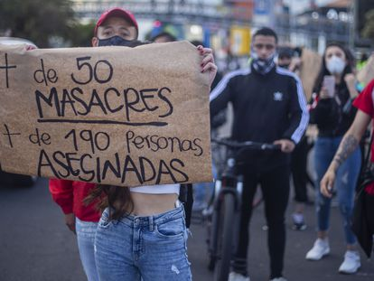 Una manifestación en Bogotá para protestar contra las masacres en Colombia, el pasado septiembre.