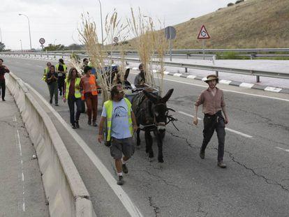 Los artistas entran a Madrid por la carretera M-301, este sábado.