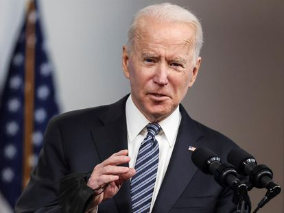 El presidente de Estados Unidos, Joe Biden, habla en conferencia de prensa en la Casa Blanca en Washington.