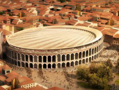 Recreación de la posible cubierta de la Arena de Verona.