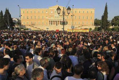 Concentración frente al Parlamento griego