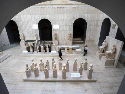 Imagen del patio romano del Museo Arqueológico Nacional tomada desde la pasarela de la sección de numismática la pasada semana.