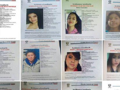 Captura de pantalla de la página de Facebook del Instituto Muncipal de las Mujeres en la que se ven carteles de desaparecidas.