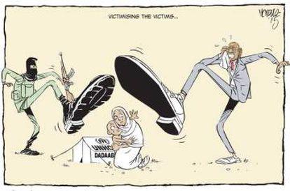 Caricatura realizada por el impulsor del proyecto 'Artist for refugees' que habla de la estigmatización de los refugiados y como se convierten en moneda de cambio para el Gobierno de Kenia.