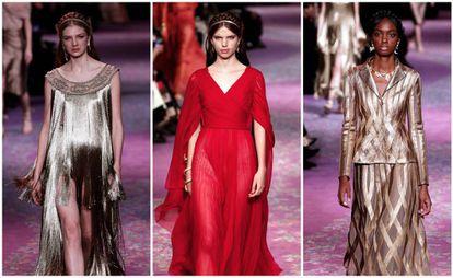 Varias modelos durante el desfile de Dior, en la Semana de la Alta Costura de París, este martes.