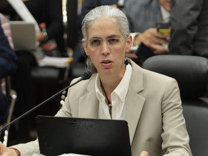 Pamela San Martin durante una sesión del Instituto Nacional Electoral en agosto de 2019.