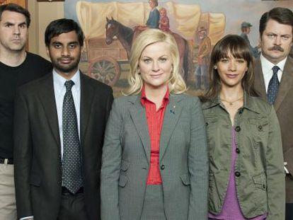 El reparto de 'Parks and recreation', serie escrita por Kelly Oxford.