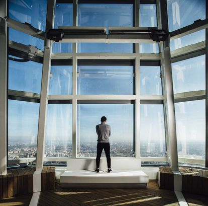 Casillas en la Torre de Cristal, a más de 200 metros sobre el suelo de Madrid.