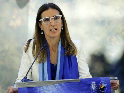 La ministra Carolina Schmidt habla durante el foro de Blue Leaders, celebrado el 25 de septiembre pasado en el marco de la cumbre del clima realizada en Nueva York.