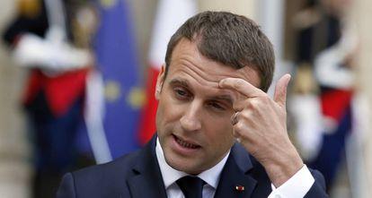 El presidente de Francia Emanuel Macron durante una comparecencia de prensa.