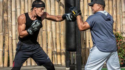 El boxeador venezolano Eldric Sella durante un entrenamiento.