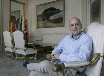 Odón Elorza, el pasado jueves, en el salón de Recepciones del Ayuntamiento de San Sebastián.