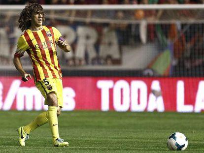 Puyol, durante su reaparición ante Osasuna.