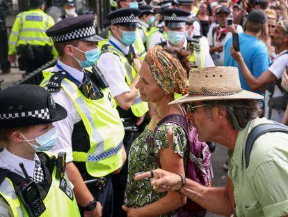 Protesta antivacunas en Londres, el pasado mes de junio.