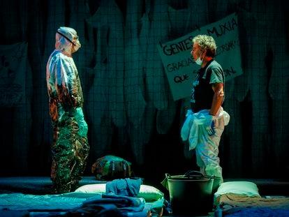 Ensayo de 'Nevermore' en el teatro María Guerrero: Manuel Cortés (izquierda) y Miguel de Lira.