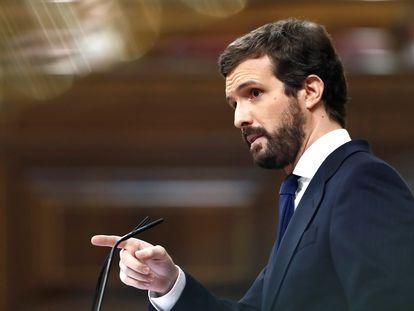 El presidente del Partido Popular, Pablo Casado, interviene durante el pleno del Congreso de los Diputados, este miércoles en Madrid.
