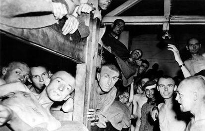 Supervivientes del campo de concentración de Mauthausen, en Austria.