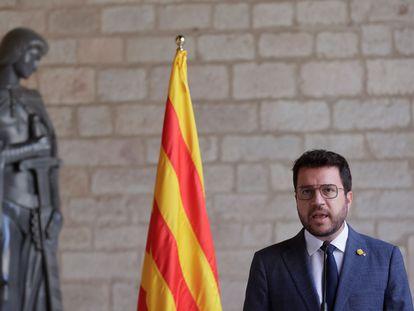 El presidente de la Generalitat, Pere Aragonès, durante su comparecencia del martes en Barcelona.