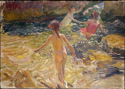 'El baño', de Joaquín Sorolla, una de las obras liberadas por el Met.