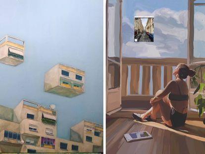 A la izquierda, 'Towards an Utopia #individual-freedom', del arquitecto y diseñador Besnik Grainca. A la derecha, 'Le confinament' de la artista Johanna Tordjman.