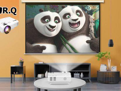 El vídeoproyector adjunta una pantalla de 170 pulgadas para ver películas y series en tamaño grande.