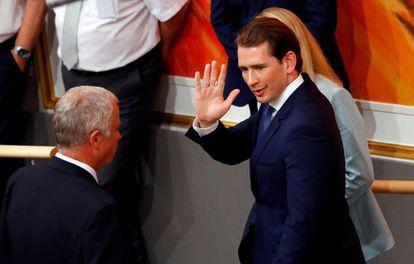 El excanciller austríaco Sebastian, tras abandonar el Parlamento el 27 de mayo de 2019.