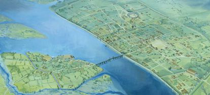 Un mapa del Londres romano, el cementerio fue encontrado al sur.