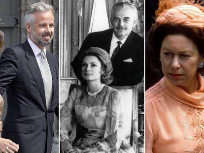 De izquierda a derecha, Marta Luisa de Noruega y Ari Behn; Rainiero de Mónaco y Grace Kelly y la princesa Margarita de Inglaterra.