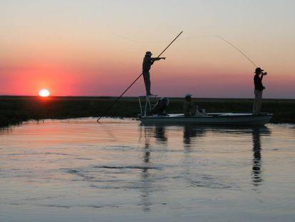 Pesca deportiva en los Esteros del Iberá, en la provincia de Corrientes, Argentina.
