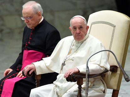 El papa Francisco, durante la audiencia general de este miércoles.
