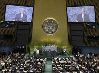 Imagen de la Asamblea General de la ONU durante el discurso de Bush.