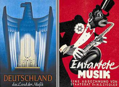 """Cartel de 1938 que identifica a Alemania como """"país de la música"""". A la derecha, cartel de la exposición <i>Música degenerada.</i>"""