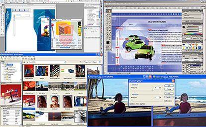 De izquierda a derecha y de arriba abajo, InDesign CS, Illustrator CS y Photoshop CS.