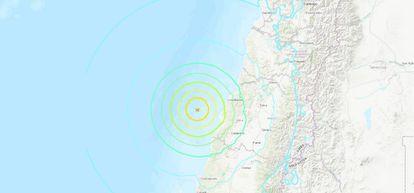 El epicentro del terremoto en Chile, de este domingo.