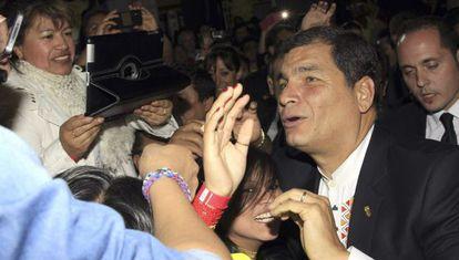 Rafael Correa, en el Palacio de Vistalegre en Madrid.