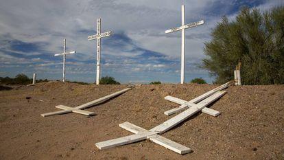 Cruces en recuerdo de migrantes muertos que intentaron llegar a Estados Unidos situado en una carretera en el estado de Sonora, en México.