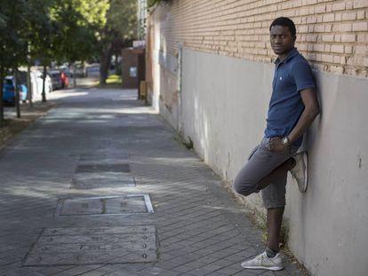Cheik Ndiaye, activista antiracismo, ayer en Madrid