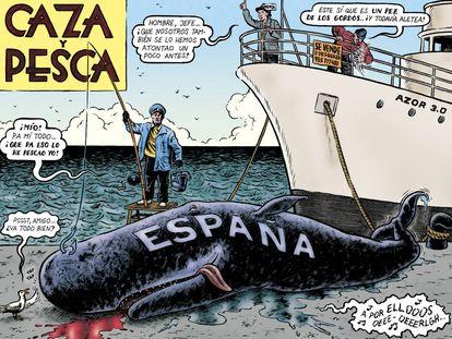 Una de las ilustraciones de Miguel Brieva incluidas en el libro, sobre la pesca amañada que se le organizaba al dictador.